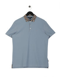 Aquascutum Coniston Club Check Collar Polo Shirt Blue