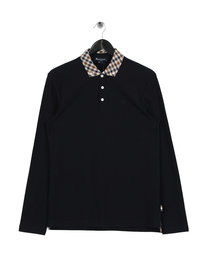 Aquascutum Coniston Long Sleeve Check Collar Polo Navy
