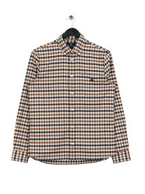 Aquascutum Goodman Small Flannel Long Sleeve Shirt Brown