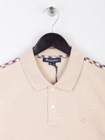 Aquascutum Hill CC Pique Short Sleeve Polo Shirt Beige