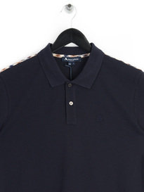 Aquascutum Hill Club Check Pique Polo Navy