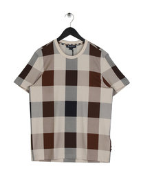 Aquascutum Kenneth Large Check Printed T-Shirt Brown