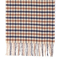 Aquascutum Lambswool Check Scarf Brown