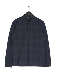 Aquascutum Leon Linea check Long Sleeve Polo Shirt Navy