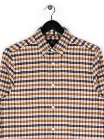 Aquascutum Magee Flannel Classic CC Shirt Brown