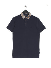 Aquascutum Nathan Check Collar Short Sleeve Polo Navy