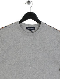 Aquascutum Southport Club Check Shoulder T-Shirt Grey