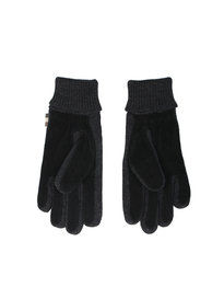 Aquascutum Vector Suede Knitted Gloves Black