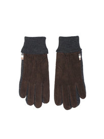 Aquascutum Vector Suede Knitted Gloves Brown