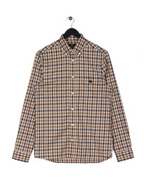 Aquascutum York Club Check Long Sleeve Shirt Brown