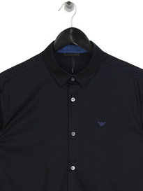 Emporio Armani Iridescent Long Sleeve Shirt Navy