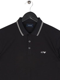 Armani Jeans Mod Fit Long Sleeve Polo Black