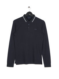 Armani Jeans Mod Fit Long Sleeve Polo Navy