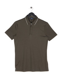 Armani Jeans Tipped Short Sleeve Polo Khaki