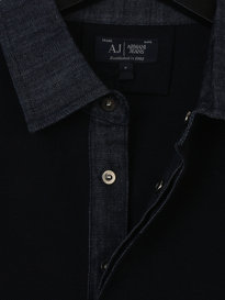 ARMANI JEANS  UOMO DENIM COLLAR POLO BLUE