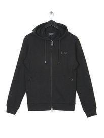 ARMANI JEANS ZIP UP HOODIE BLACK