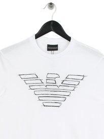 Emporio Armani Sketch Eagle T-Shirt White