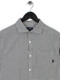Armani Small Check Shirt White Black
