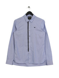 Emporio Armani Tipped Placket Long Sleeve Shirt Blue