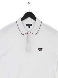 ARMANI UOMO TIPPED COLLAR POLO WHITE