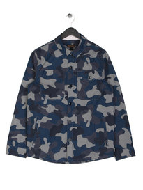 Barbour Camo Button Overshirt Navy