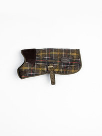 Barbour Tartan Dog Coat Quilted Green