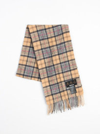 Barbour Tartan Lambswool Scarf Dress Beige