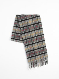 Barbour Tartan Lambswool Scarf Modern Grey