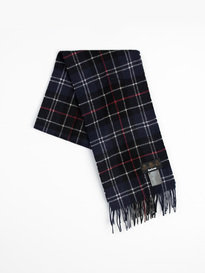 Barbour Tartan Lambswool Scarf Navy