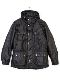 BARBOUR V TECH HOODED WAX JACKET BLACK