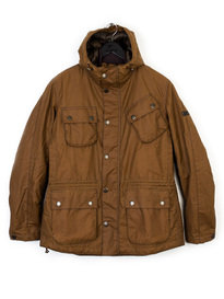 BARBOUR V TECH HOODED WAX JACKET BROWN