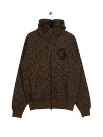 Billionaire Boys Club Leopard Print Full Zip Hoodie Brown