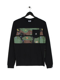 Billionaire Boys Club Space Camo Stripe Long Sleeve Logo T-Shirt Black