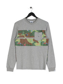 Billionaire Boys Club Space Camo Stripe Long Sleeve Logo T-Shirt Grey