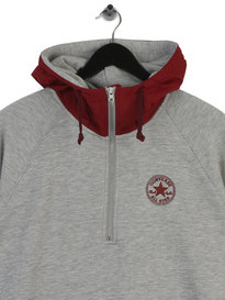 Converse Woven Detail 1/2 Zip Hoodie Grey Red