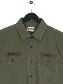 Edwin Labour 4 Pockets Long Sleeve Shirt Green