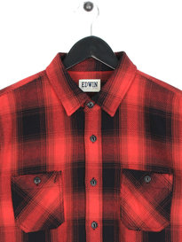 Edwin Labour Heavy Flannel Long Sleeve Shirt Red