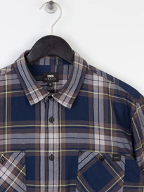 Edwin Labour Herringbone Check Shirt Navy