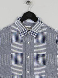 Edwin Patchwork Woven Cloth Shirt Blue