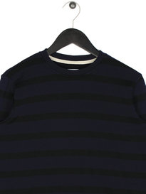 Edwin Terry Long Sleeve Striped T-Shirt Navy