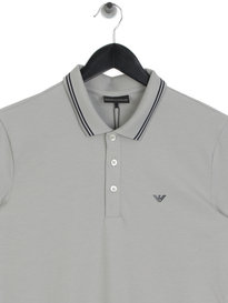 Emporio Armani Tipped Polo Shirt Grey