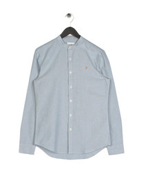 Farah Brewer Grandad Shirt Blue
