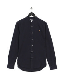 Farah Brewer Slim Granddad Shirt Navy