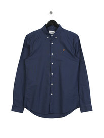 Farah Brewer Slim Long Sleeve BD Shirt Blue
