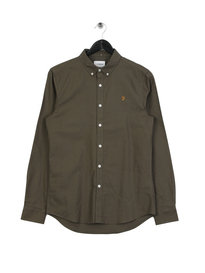 Farah Brewer Slim Long Sleeve BD Shirt Green