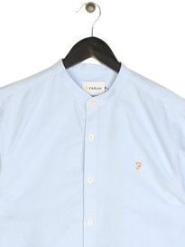 Farah Brewer Slim Long Sleeve Grandad Shirt Sky Blue