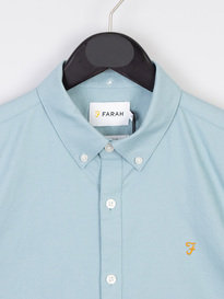 Farah Brewer Slim Long Sleeve Shirt BD Turquoise