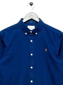 Farah Brewer Slim Long Sleeve Shirt Blue