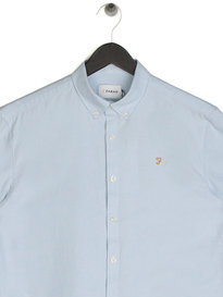 Farah Brewer Slim Short Sleeve Shirt Sky Blue