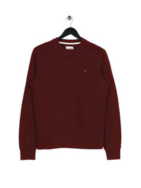 Farah Burgem Long Sleeve Slub Crew Neck Burgundy
